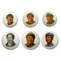 Set of 6 Large Porcelain Buttons Featuring-Chairman Mao
