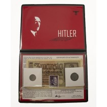 Adolf Hitler Album: Banknote, Stamp & Two Coins