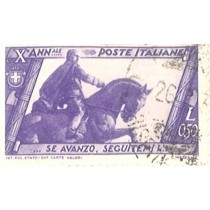 Italian stamp, Mussolini on horseback