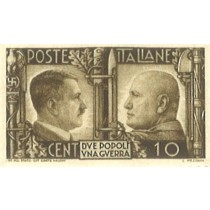 Italian stamp of Mussolini and Hitler, bare-headed