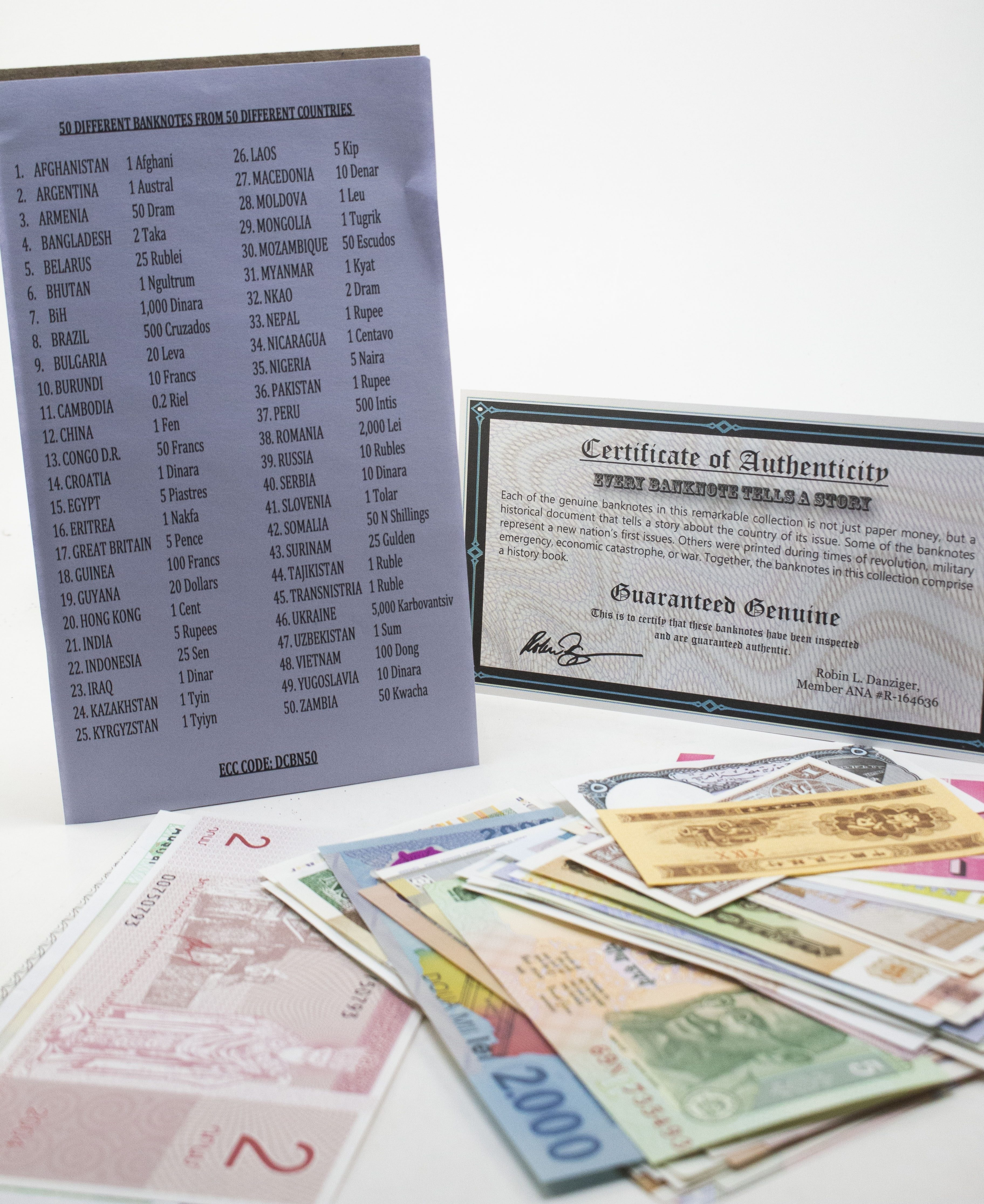 50 banknotes, 50 different countries