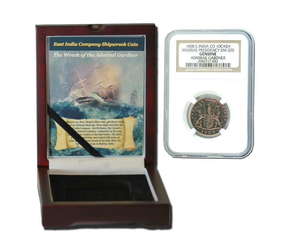 Admiral Gardner (1808) Shipwreck Treasure 10 Cash NGC Wood Box(Medium grade)
