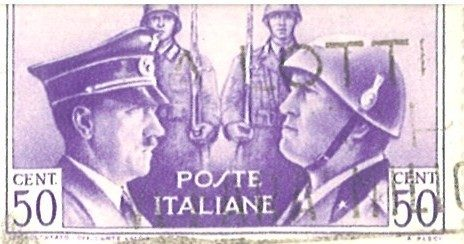 Italian stamp, Mussolini and Hitler, helmeted