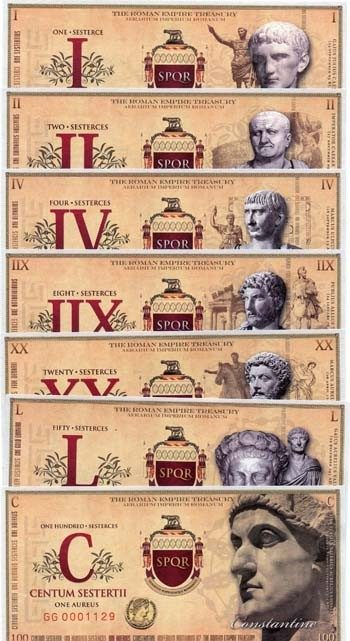 Roman set of 7 Fantasy Banknotes (2007)